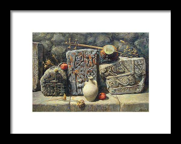 The Armenian Stones Framed Print featuring the painting Armenian Stones by Meruzhan Khachatryan