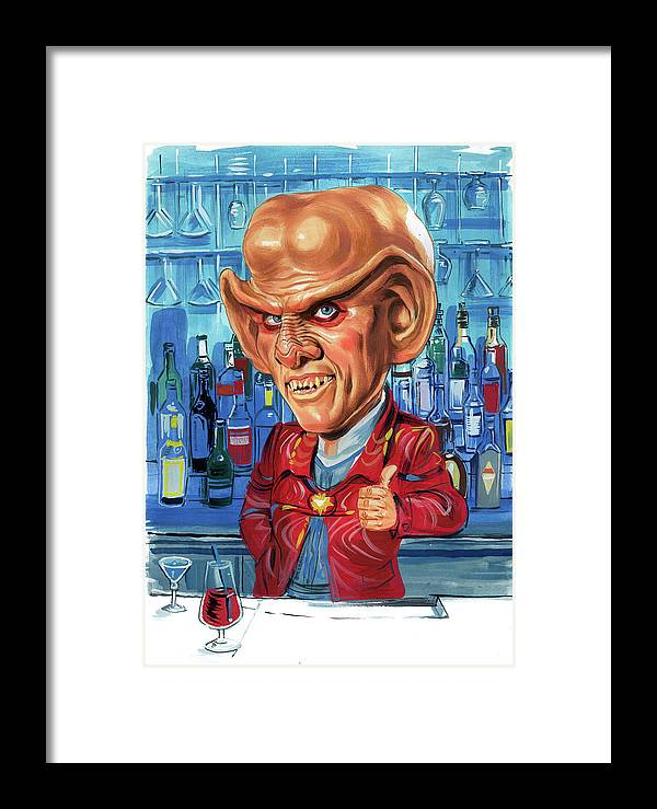 Armin Shimerman Framed Print featuring the painting Armin Shimerman As Quark by Art