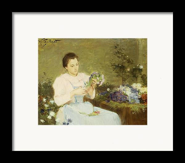 Arranging; Flowers; Flower; Spring; Bouquet; Posy; Floral; Girl; Female; Youth; Young; Seated; Apron; Florist; Floristry; Concentrating; Concentration; Impressionist-style; Loose; Handling; Painterly; Impressionistic; Impressionist Framed Print featuring the painting Arranging Flowers For A Spring Bouquet by Victor Gabriel Gilbert