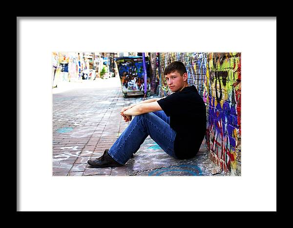Brett Herr Framed Print featuring the photograph Art Alley Sit Down by Michele Richter