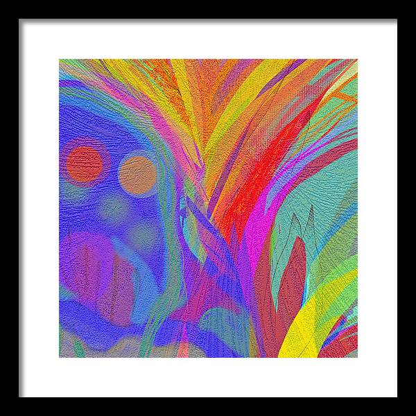 Landscape Abstract+landscape Abstract+art Artistic Blue+red+yellow Predominant+color+blue Digital+art Framed Print featuring the drawing Art and Music by Julie Richman