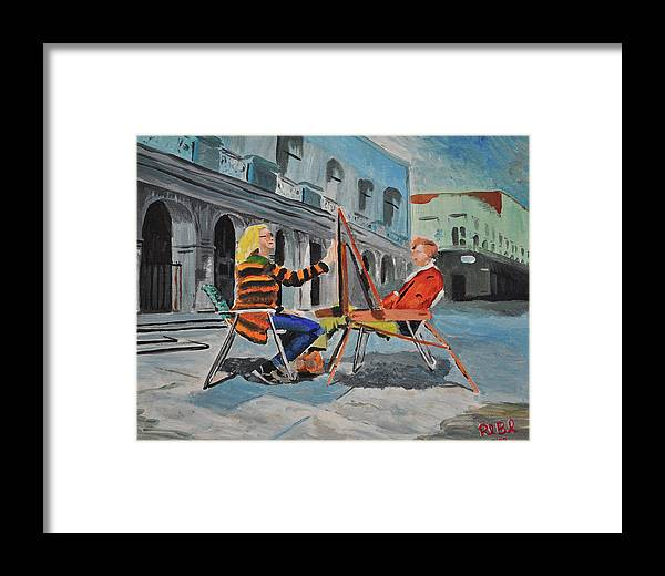Artist Framed Print featuring the painting Art Viewing Art by Ruben Barbosa