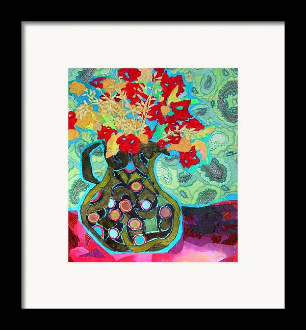 Flowers In A Vase Framed Print featuring the mixed media Artful Jug by Diane Fine