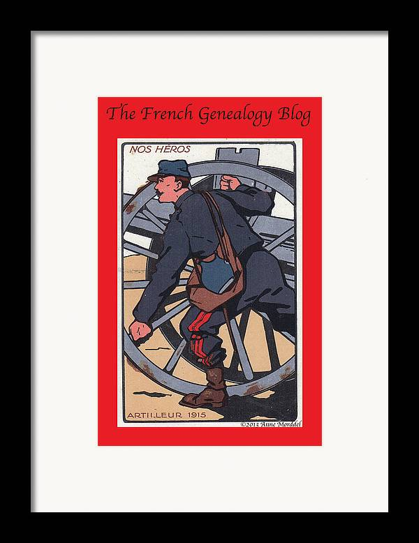 France Framed Print featuring the photograph Artilleur 1915 With Fgb Border by A Morddel