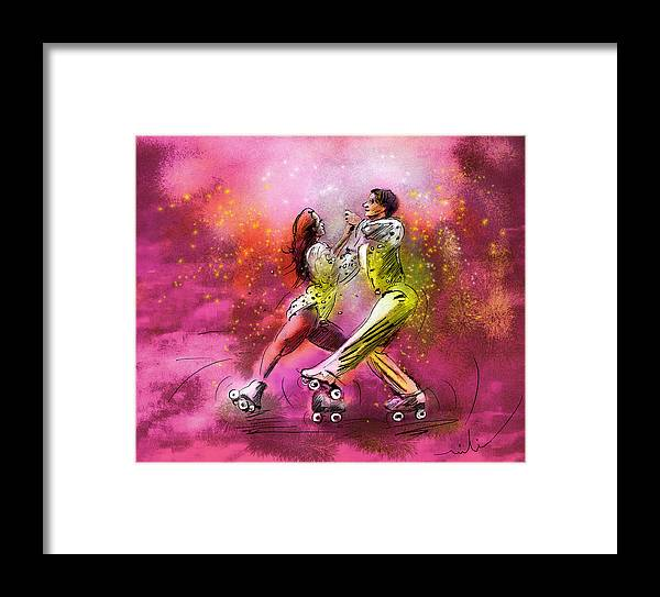 Sports Framed Print featuring the painting Artistic Roller Skating 01 by Miki De Goodaboom