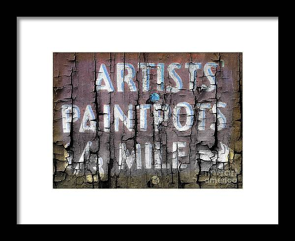 Artist Framed Print featuring the photograph Artists' Paintpots Sign by Kathleen Struckle