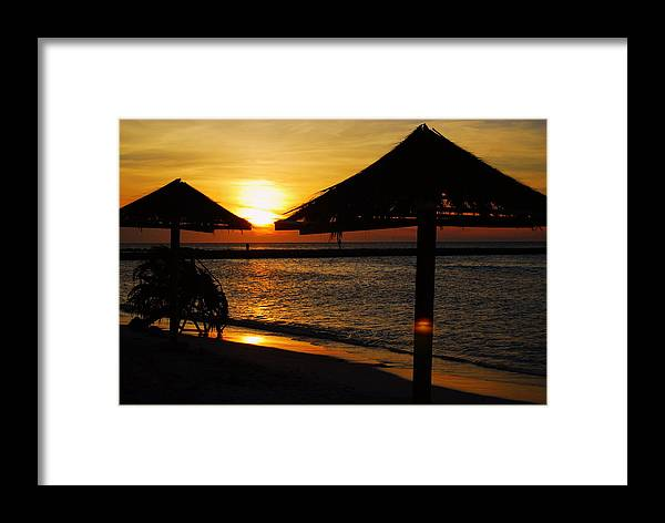 Caribbean Framed Print featuring the photograph Aruba Sunset by Caroline Stella