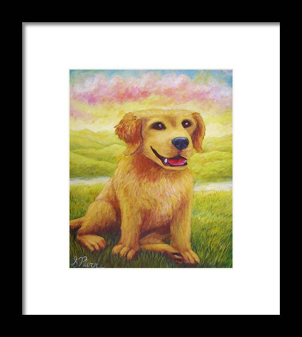 Framed Print featuring the painting Ashly's Retriever  by Sebastian Pierre