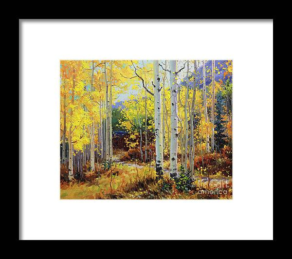 Durango Framed Print featuring the painting Aspen Cabin by Gary Kim
