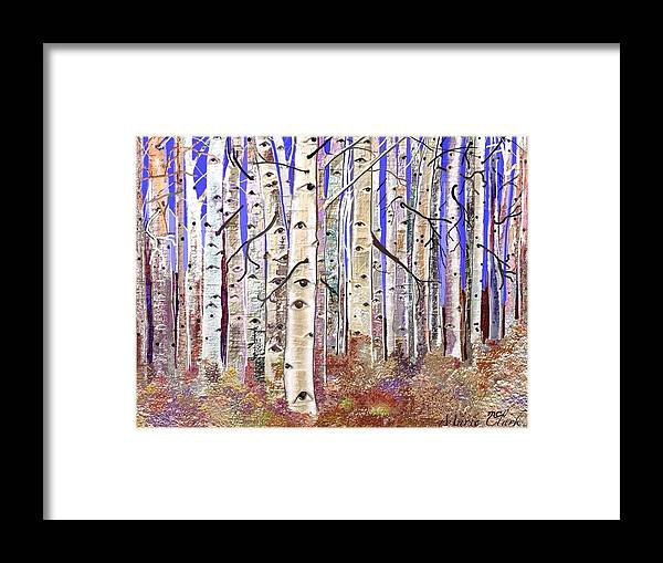 Trees Framed Print featuring the painting Aspen Eyes by Marie Clark