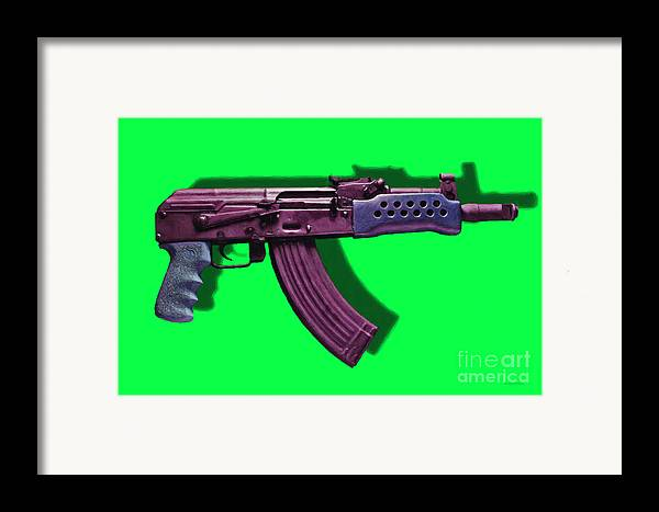 Gun Framed Print featuring the photograph Assault Rifle Pop Art - 20130120 - V3 by Wingsdomain Art and Photography
