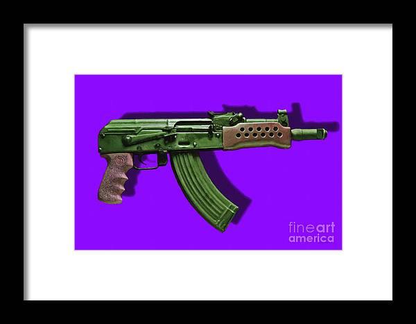 Gun Framed Print featuring the photograph Assault Rifle Pop Art - 20130120 - V4 by Wingsdomain Art and Photography
