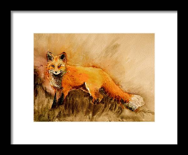 Fox Framed Print featuring the painting Assessing The Situation Antiqued by Beverley Harper Tinsley