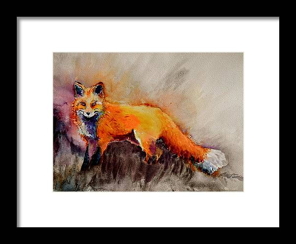 Fox Framed Print featuring the painting Assessing The Situation by Beverley Harper Tinsley