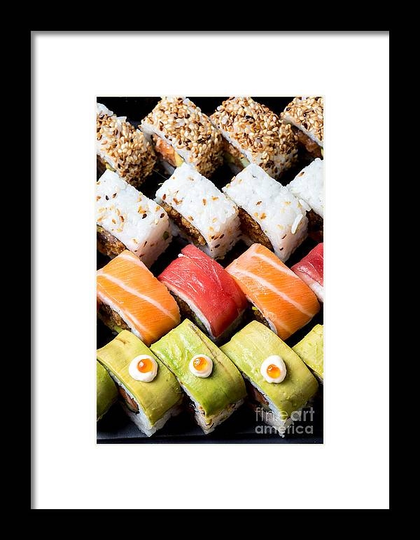 Insideout Framed Print featuring the photograph Assortment Of Sushi by Ilan Amihai