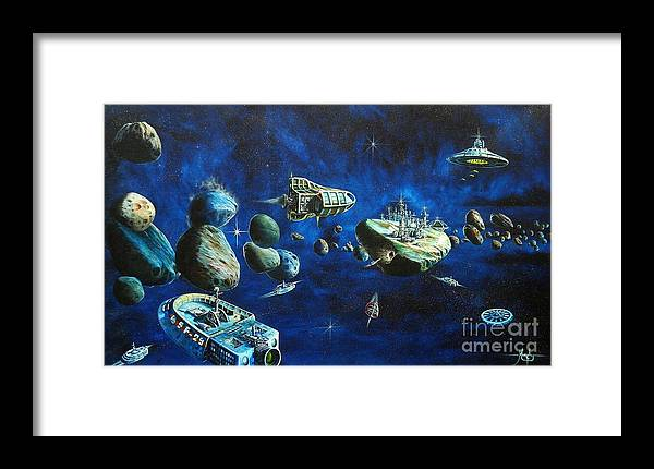 Fantasy Framed Print featuring the painting Asteroid City by Murphy Elliott