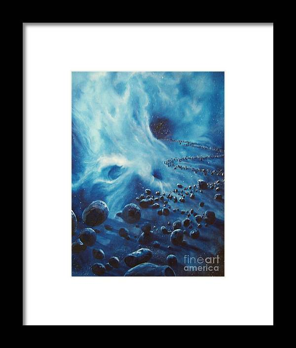 Si-fi Framed Print featuring the painting Asteroid River by Murphy Elliott