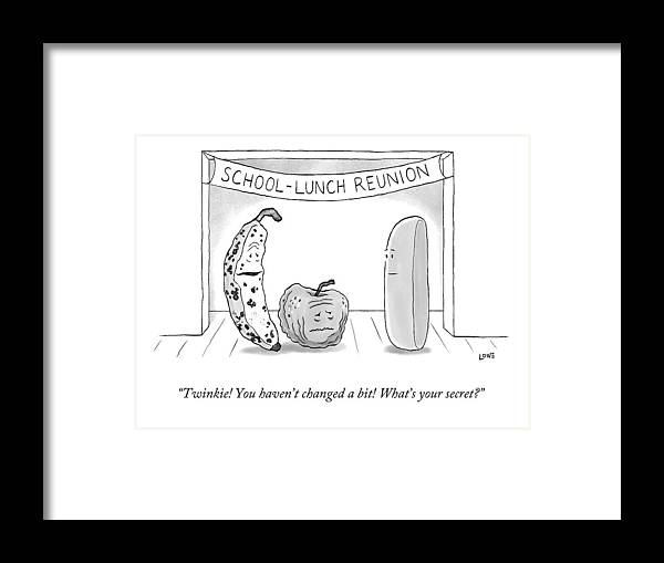 High School Reunion Framed Print featuring the drawing At A School Lunch Reunion by Christian Lowe