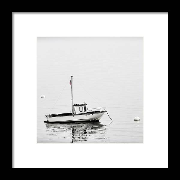 Boat Framed Print featuring the photograph At Anchor Bar Harbor Maine Black And White Square by Carol Leigh