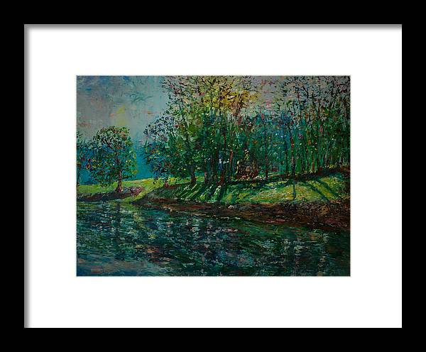 Oil Framed Print featuring the painting At Carondelet Park by Horacio Prada