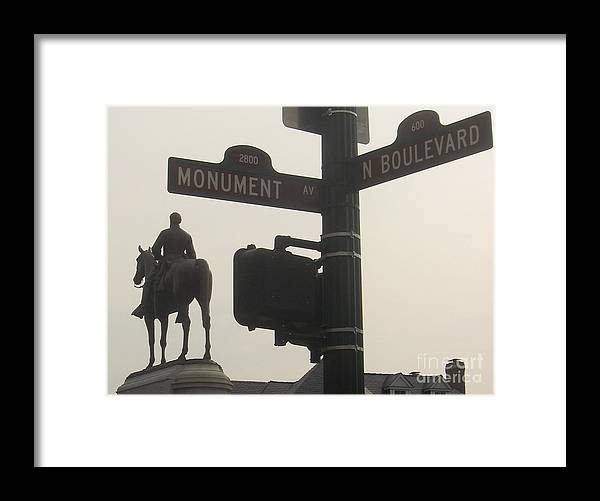 Virginia Framed Print featuring the photograph at Monument and Boulevard by Nancy Dole McGuigan