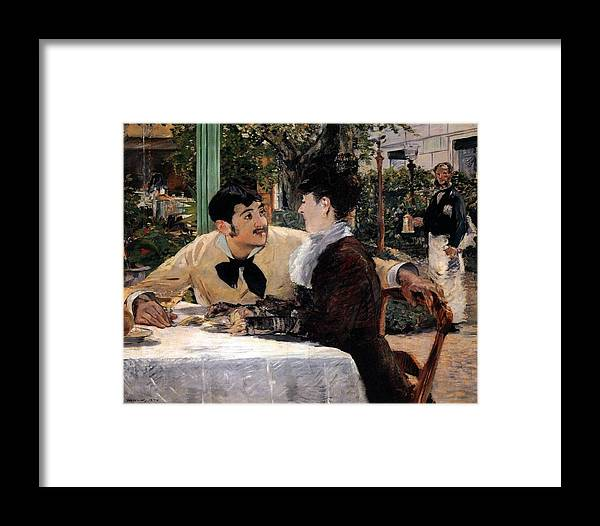 1879 Framed Print featuring the painting At Pere Lathuille's by Edouard Manet