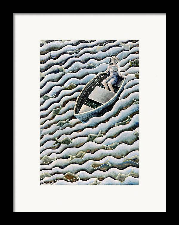 Rowing Framed Print featuring the painting At Sea by Celia Washington