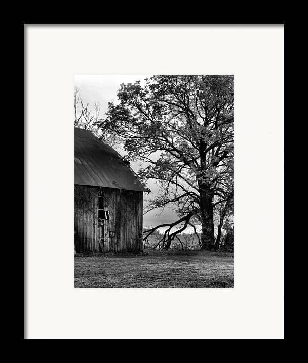 Barn Framed Print featuring the photograph At The Barn In Bw by Julie Dant