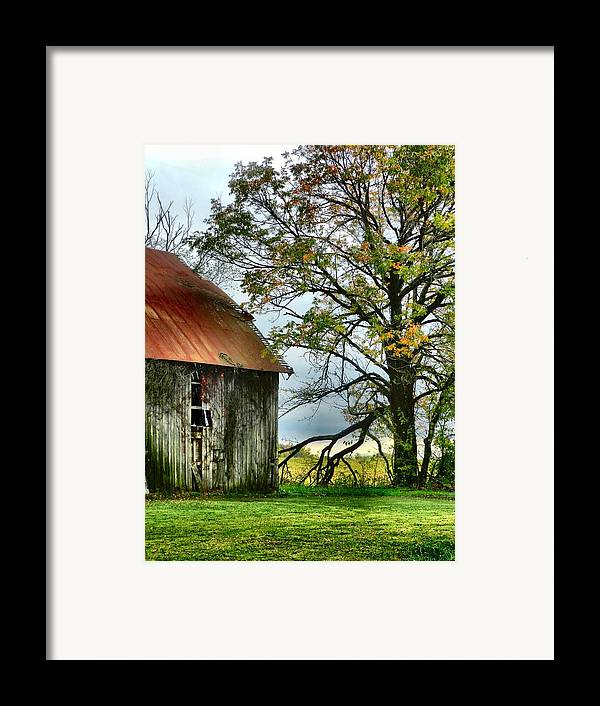 Barns Framed Print featuring the photograph At The Barn by Julie Dant