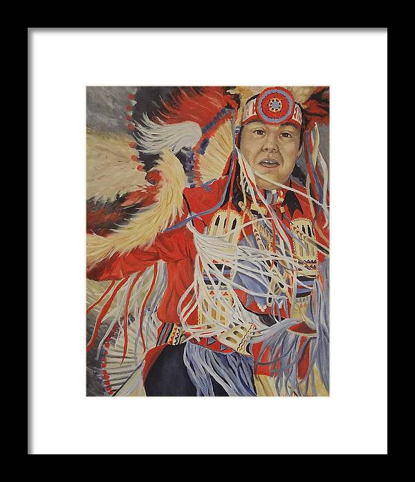 Indian Framed Print featuring the painting At The Powwow by Wanda Dansereau