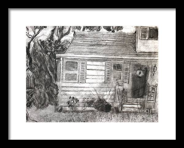 Drawing Framed Print featuring the drawing At The Schmidts' Home by Erin Masterson