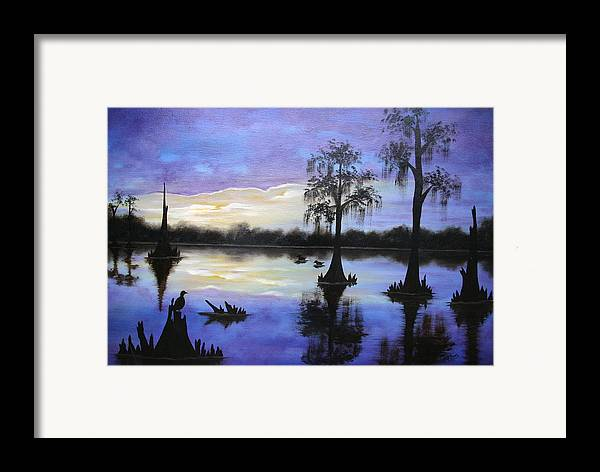 Seascape Framed Print featuring the painting Atchafalya Sunrise by Ruth Bares