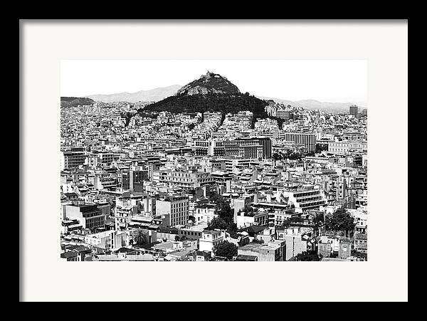 Athens City View Framed Print featuring the photograph Athens City View In Black And White by John Rizzuto