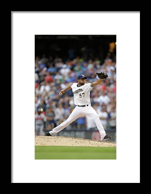 Wisconsin Framed Print featuring the photograph Atlanta Braves V Milwaukee Brewers by Mike Mcginnis