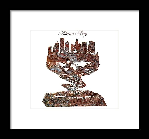 Atlantic City Framed Print featuring the digital art Atlantic City Rusty Skyline by Brian Reaves