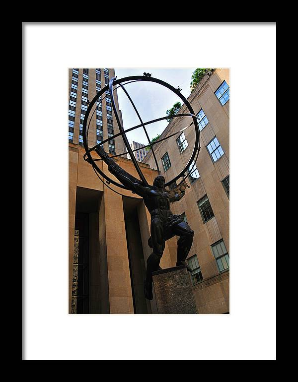 Statue Framed Print featuring the photograph Atlas Holds The Heavens by Mike Martin