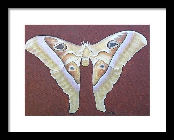 Mishel Vanderten Framed Print featuring the painting Atlas Moth by Mishel Vanderten