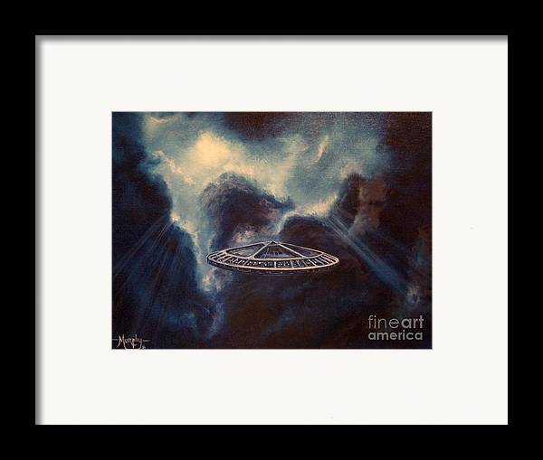 Si-fi Framed Print featuring the painting Atmospheric Arrival by Murphy Elliott
