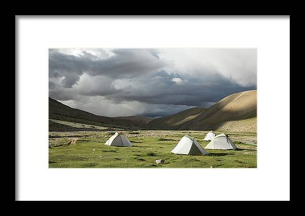 Tranquility Framed Print featuring the photograph Atmospheric Grassy Camping by Jamie Mcguinness - Project Himalaya