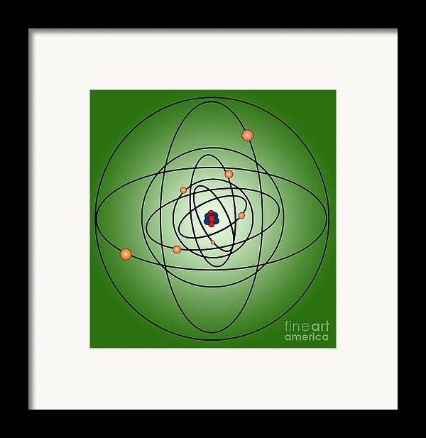 Science Framed Print featuring the photograph Atomic Structure Model by Science Source