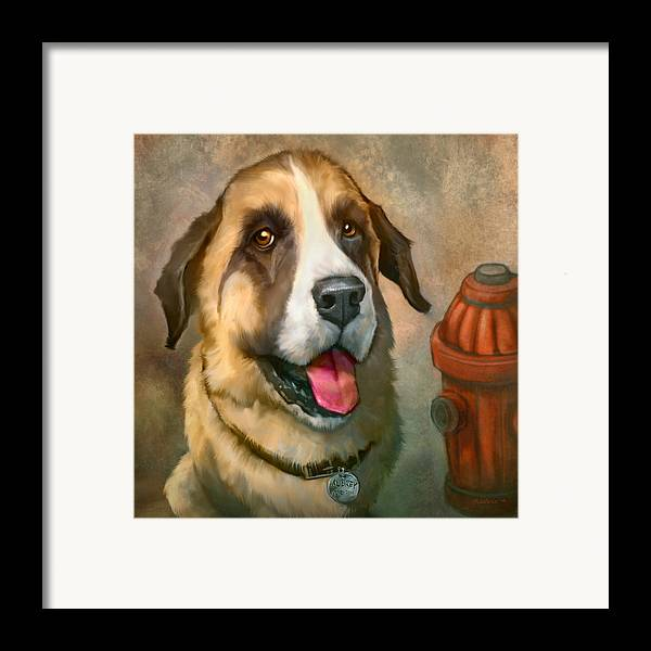 Dog Framed Print featuring the painting Aubrey by Sean ODaniels