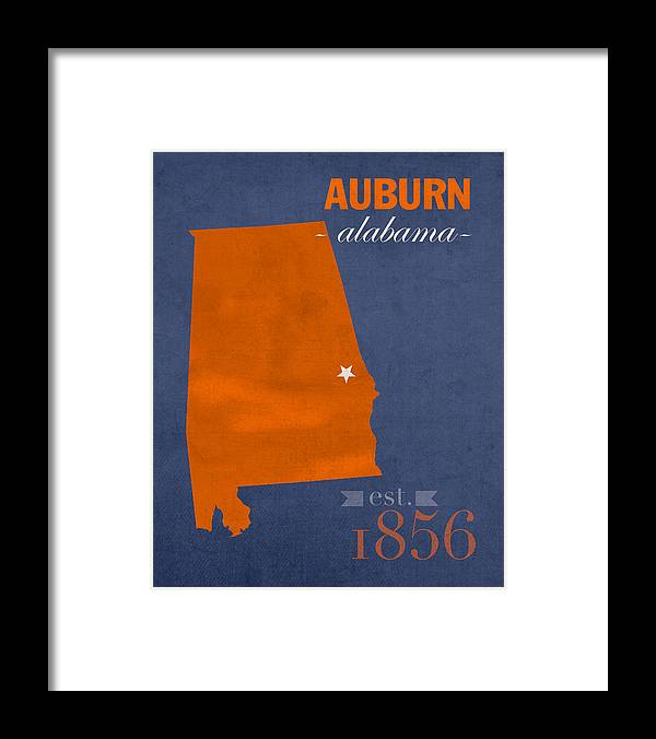 Auburn University Framed Print featuring the mixed media Auburn University Tigers Auburn Alabama College Town State Map Poster Series No 016 by Design Turnpike