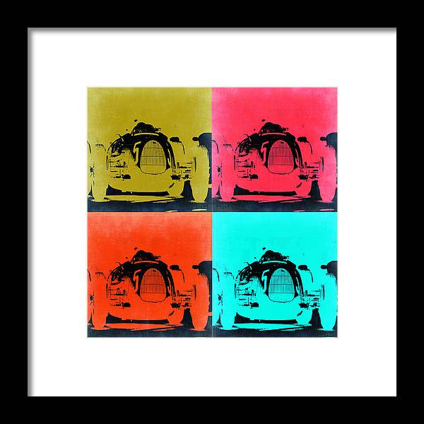 Audi Framed Print featuring the painting Audi Silver Arrow Pop Art 2 by Naxart Studio
