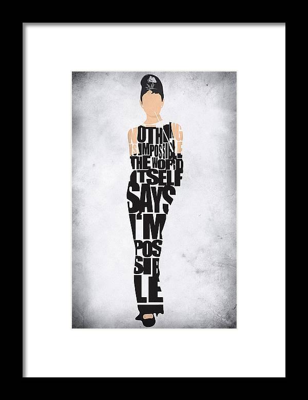 Audrey Hepburn Framed Print featuring the digital art Audrey Hepburn Typography Poster by Inspirowl Design