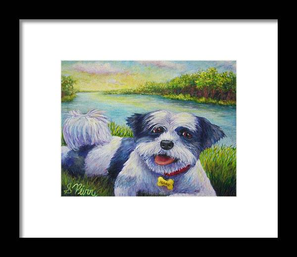 Framed Print featuring the painting Auggie by Sebastian Pierre