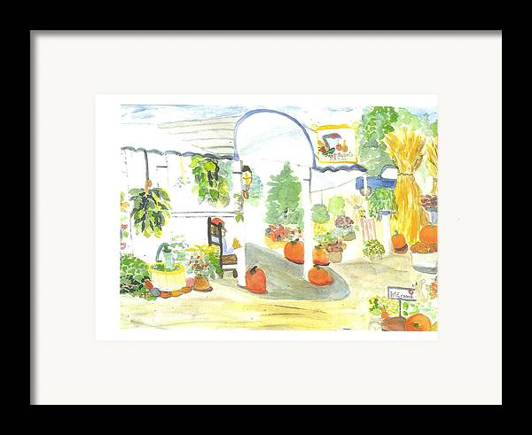 Nj Farm Stand Framed Print featuring the painting Aunt Helen's Farm by Thelma Harcum