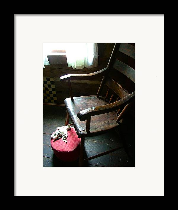 Wooden Chair Framed Print featuring the photograph Aunt Tillie's Sewing Chair by Julie Dant