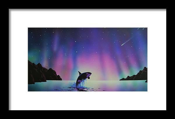 Aurora Borealis Framed Print featuring the painting Aurora Borealis and Whale by Thomas Kolendra