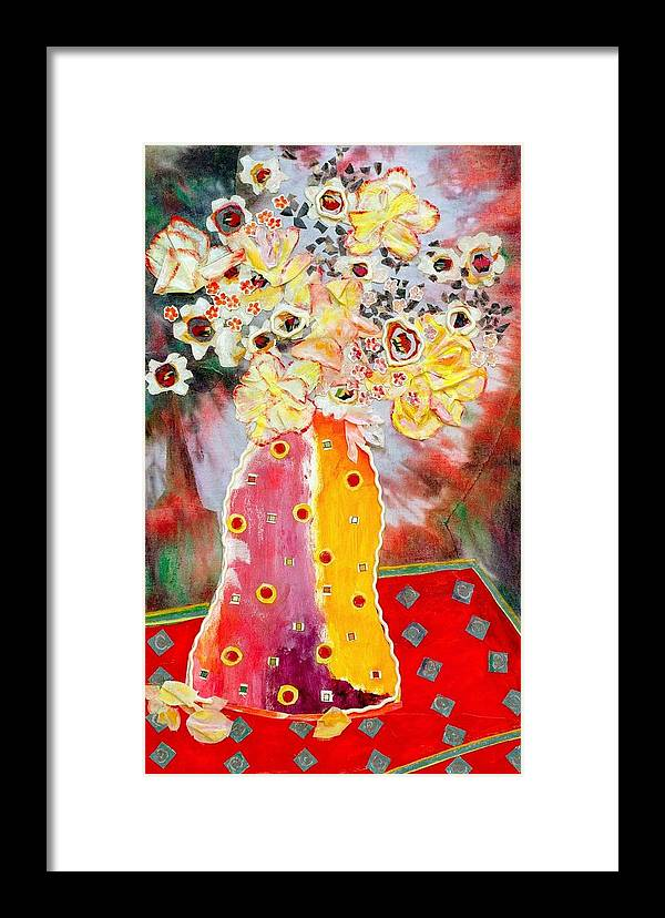 Flowers In A Vase Framed Print featuring the mixed media Aurora Borealis by Diane Fine