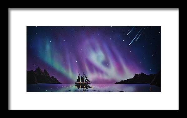 Aurora Borealis Framed Print featuring the painting Aurora Borealis from a ship by Thomas Kolendra